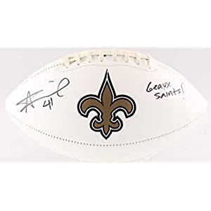 Alvin Kamara New Orleans Saints Signed Autograph Embroidered Logo Football Inscribed GEAUX SAINTS Radtke Sports Certified