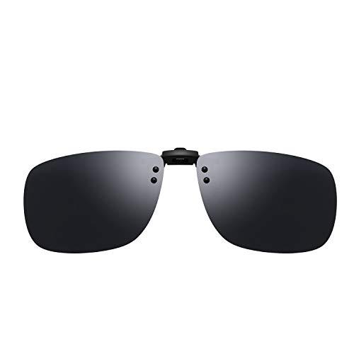 AL-MG Alloy Clip-on Sunglasses, Unisex Polarized Frameless Rectangle Lens Flip Up Clip on Prescription Sunglasses Eyeglass, Clip on Glasses For UV Protection-Grey