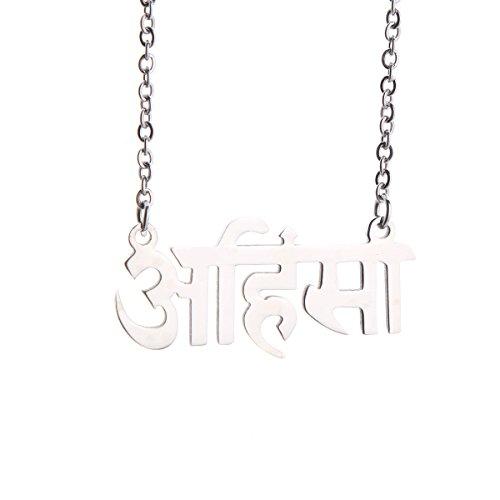 Silver Stainless Steel Spiritual Buddhist OM Ohm Symbol Yoga Pendant Necklace (Ahimsa pendant) (Ahimsa Necklace)
