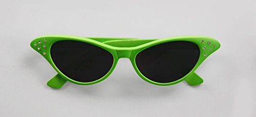 Rhinestone Accented Neon Costume Sun Glasses - Green