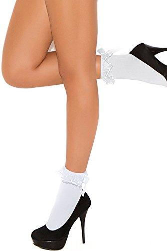 Women's Ruffle And Satin Bow Nylon Anklet (Nylon Anklet Socks)