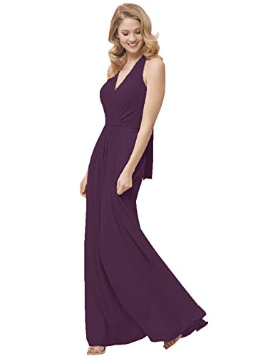 0fde7db36b2 ... Halter Chiffon Bridesmaid Dress Open Back Long Formal Maxi Evening Gown  Plum Size 14.   