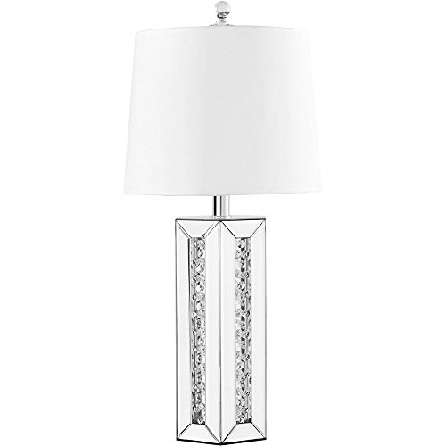 Elegant Lighting ML9308 Sparkle - 28'' One Light Table Lamp, Silver Finish with White Fabric Shade by Elegant Lighting