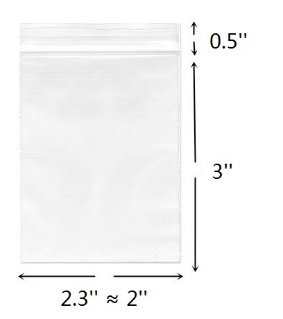 2''x 3'', (Pack of 100) Small Clear Poly Zipper Bags 2 Mil Reclosable Ziplock Storage Plastic Bag for Jewelry, Candy - Small Zip Lock Plastic Bags