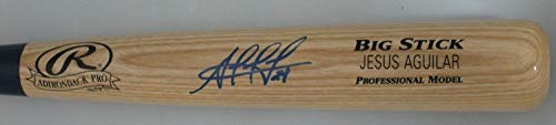 Jesus Aguilar Autographed Blonde Name Engraved Rawlings Big Stick Bat Signed - Certified Authentic