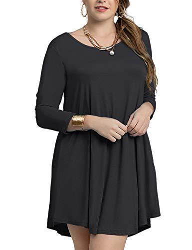 25983c76b8b Galleon - LARACE Women s Casual Loose 3 4 Sleeve Simple Plain Swing Flowy T-Shirt  Dresses