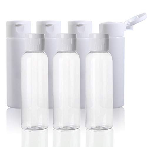 Cosmetic Travel Bottles, Plastic Empty Refillable Toiletry Travel Size Containers 2 oz with Flip Cap, Tsa Approved