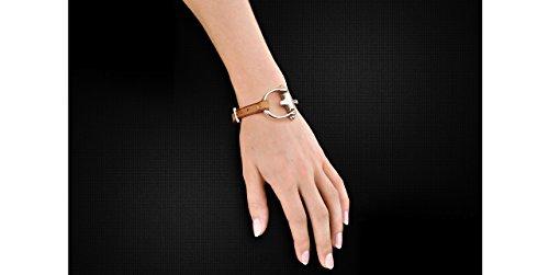 N°3 Bracelet El Estribo Real cuir, plaquage en argent, beige