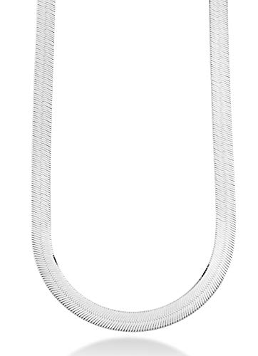 MiaBella 925 Sterling Silver Italian Solid 10mm Flat Herringbone Chain Necklace Women Men 17