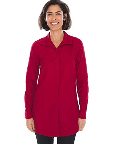 Chico's Women's No-Iron Sateen Winged-Collar Tunic Size 4 S (0) Red ()