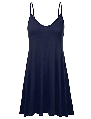 NINEXIS Women's Basic Spaghetti Strap Cami Tank Tunic Dress Navy ()