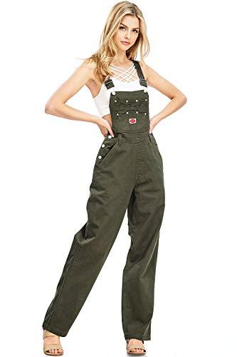Revolt Women's Juniors Baggy Straight Leg Twill Overalls (S, Olive Envy)