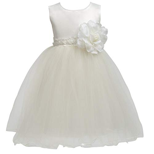 - Toddler Cream Flower Girl Dress Tulle Dress Baby Girl Tutu Dress Wedding Dresses Baptism Dress Bride Christening Bridesmaid Princess Formal Party Little Kid Petals Pearl lace 1-2 Years 1t 2t Size 1 2