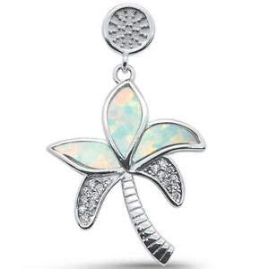 - White Opal Palm Tree 925 Sterling Silver Pendant - Jewelry Accessories Key Chain Bracelet Necklace Pendants