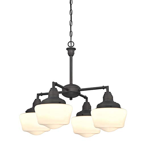 Westinghouse Lighting 6342000 Scholar Four-Light Indoor Convertible Chandelier/Semi-Flush Ceiling Fixture, Oil Rubbed Bronze Finish with White Opal - Light Fixture Westinghouse Brass Chandelier