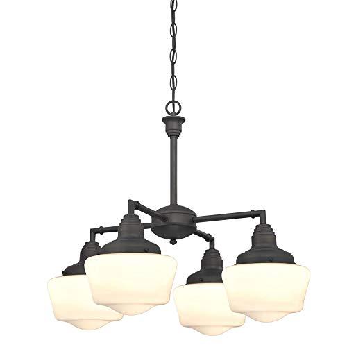 Westinghouse Lighting 6342000 Scholar Four-Light Indoor Convertible Chandelier/Semi-Flush Ceiling Fixture, Oil Rubbed…