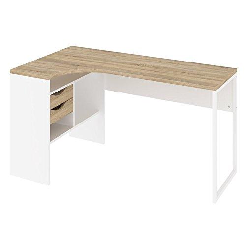 (TVILUM 8011849ak Wayland 2 Drawer Desk, White/Oak Structure)