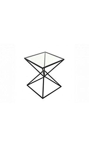 Socadis - Table d'appoint design verre et acier noir SELA