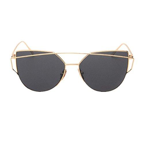 ojo gato Gafas mujeres Gafas del Oro del de marco del del sol espejo metálico las de ASHOP de 67rx6qR