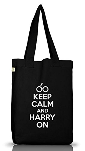 Shirtstreet24, Keep Calm And Harry On, Jutebeutel Stoff Tasche Earth Positive (ONE SIZE) Black