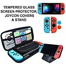 Nintendo Switch Accessories - Starter Kit, Stand, Glass Screen Protector, JoyCon Covers, 20 Game Holder | Protective Travel Carry Shell Pouch