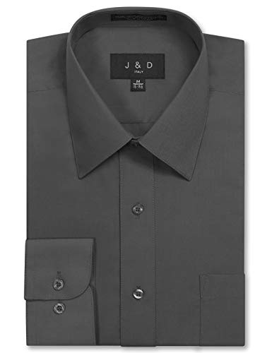 - JD Apparel Men's Long Sleeve Regular Fit Solid Dress Shirt 19-19.5 N 34-35 S Charcoal,XXX-Large