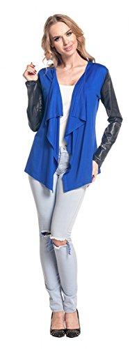 Glamour Empire para mujer Abrigo chaqueta cascada manga de cuero sintético. 098 Azul Real