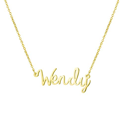 Yiyang Couple Lover Name Necklace 18K Gold Plated Stainless Steel Personalized Jewelry Birthday Gift for Girls Wendy ()