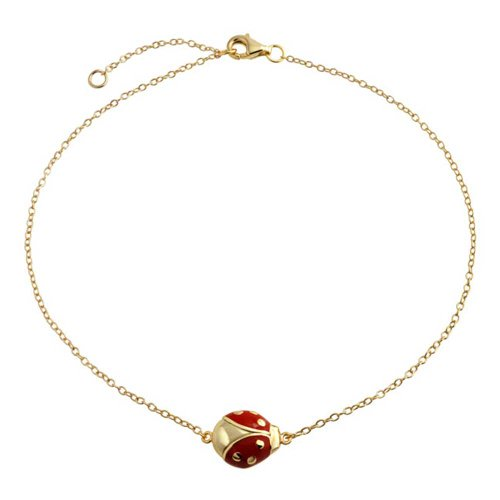 (Red Ladybug Garden Charm Anklet Link Ankle Bracelet For Women 14K Gold Plated 925 Sterling Silver 9 To 10 Inch Extender)