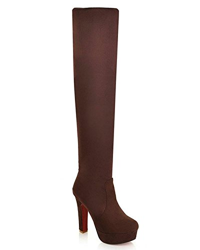 Maybest Women's Fashion Muti Wear Thigh Over Knee Stretchy Shoes Boots High Heel Brown 7 B (M) US (Go Go Boots Australia)