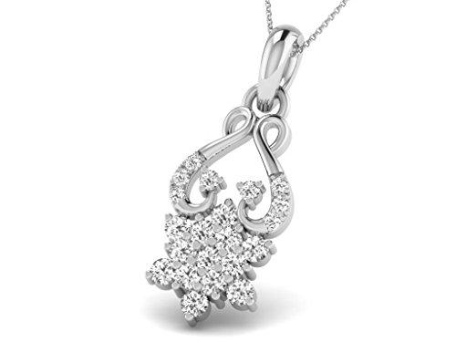 Or Blanc 9 ct Pendentifs Diamant , 0.32 Ct Diamant, GH-SI, 0.99 grammes.