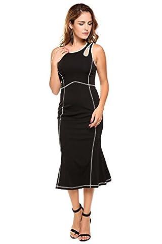 Zeela Women's Elegant O-Neck Sleeveless Cocktail Party Formal Tight Mermaid Dresses(Black,S) - Hot Sexy Black Formal Dress