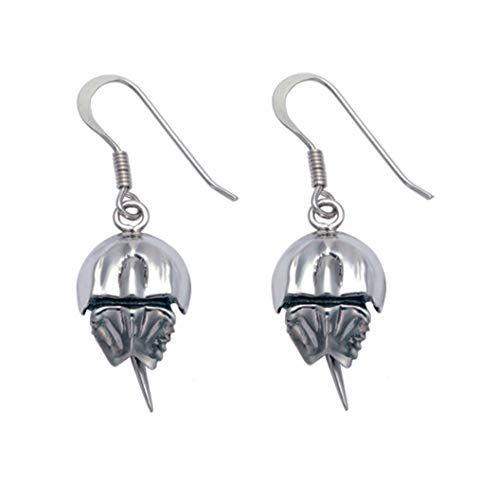 Sterling Silver Oxidized Horseshoe Crab Wire Earrings (Horseshoe Crab Necklace)