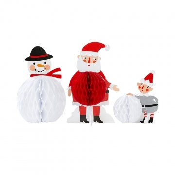 Talking Tables Waiting For Santa-Honeycomb Friends Christmas Decorations (3 Pack), -