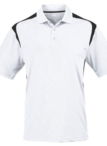 Tri Mountain Mens 100  Polyester Uc Knit Polo Shirt  145Tm   White   Black Xlt