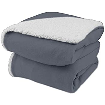 Biddeford Comfort Knit Electric Heated Throw Blanket with Natural Sherpa Gray