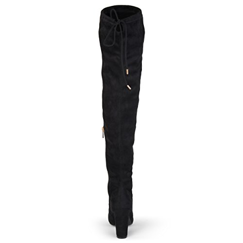Journee Collection Womens Regular and Wide-Calf Faux Suede Over-The-Knee Boots Black TcWe7