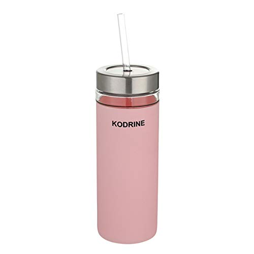 Sleeve Combination - Glass tumbler with straw, 20oz Glass Water Bottle with Silicone Protective Sleeve - Stainless steel and plastic combination lid - BPA Free Pink