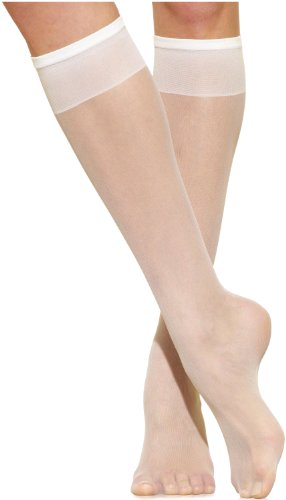Silkies Women's Ultra Knee Highs with Energizing Support 3 Pair Pack -Regular White