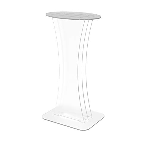 FixtureDisplays Clear Acrylic Lucite Podium Pulpit Lectern with Flat Table Top -