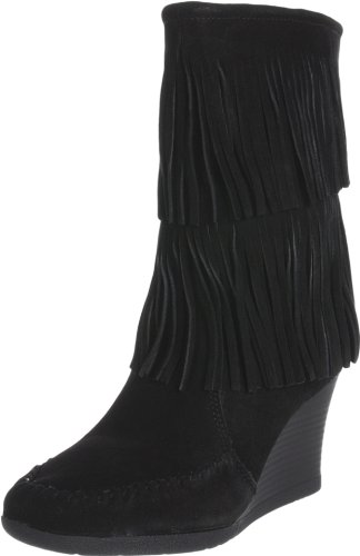 Minnetonka Women's Calf Hi Double Fringe Boot,Black,10 M US - Hi Fringe Boot