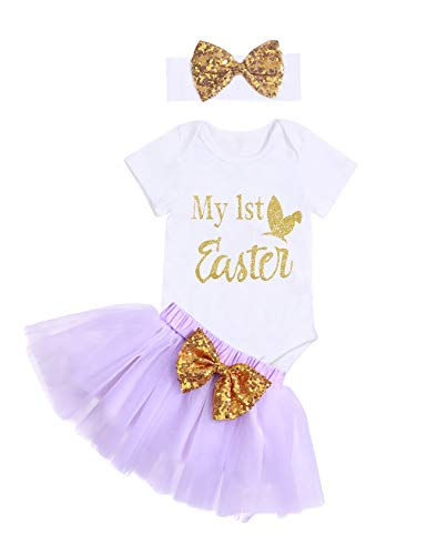 3Pcs Newborn Infant Baby Girl Outfits My 1st Easter Short Sleeve Romper Tutu Skirt with Headband Sets (3-6M/80)