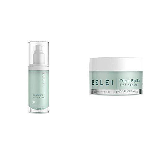 Belei Vitamin C Moisturizer, Fragrance Free, Paraben Free, 2 Fluid Ounce (60 mL) & Triple-Peptide Eye Cream, Fragrance Free, Paraben Free, 0.5 Fluid Ounce (15 mL)