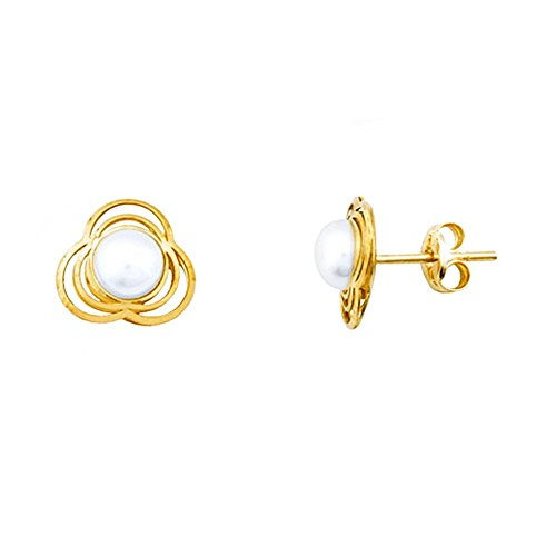 Boucled'oreille 18k 5.5mm or perle de trèfle. bouton cultivé [AA5729]
