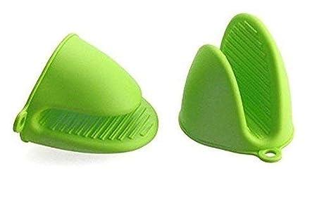 YuamMei 1 par (2 Piezas) Guantes de microondas Resistentes al Calor de Silicona Mini Manoplas de Horno (Verde)