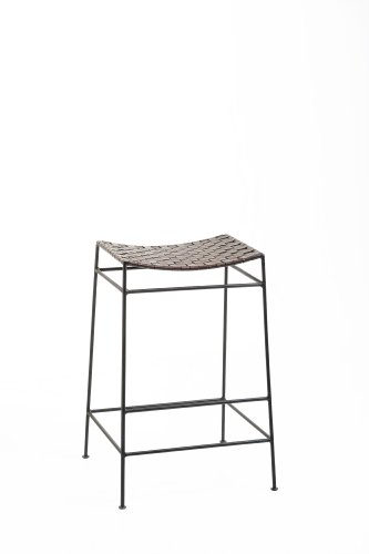 Wililam Sheppee Clubhouse Iron and Leather Barstool