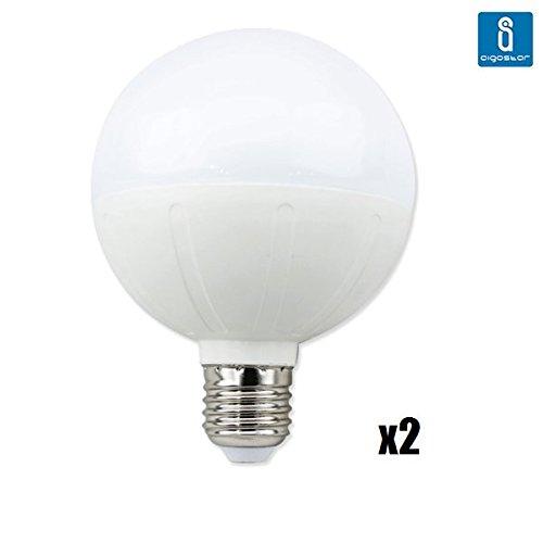 2 Bombillas LED E27 de 20w Aigostar tipo globo, 1600 lúmenes