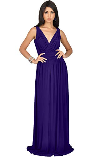 Jersey Dress Matte Long (KOH KOH Plus Size Womens Long Sleeveless Flowy Bridesmaids Cocktail Party Evening Formal Sexy Summer Wedding Guest Ball Prom Gown Gowns Maxi Dress Dresses, Indigo Blue Purple 3X 22-24 (3))