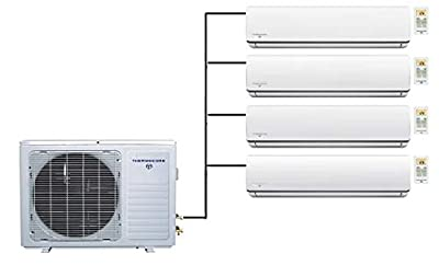 Thermocore 45000 BTU Quad Zone Ductless Split Air Conditioner Heat Pump, 9000 + 12000 x 3