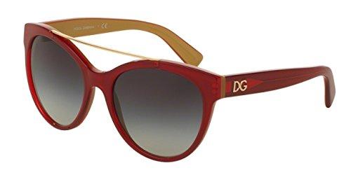 Gabbana Shimmer (D&G Dolce & Gabbana Women's 0dg4280f Round Sunglasses, Top Red on Gold, 57 mm)